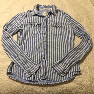 Hollister Blue and White Striped Button Shirt - M